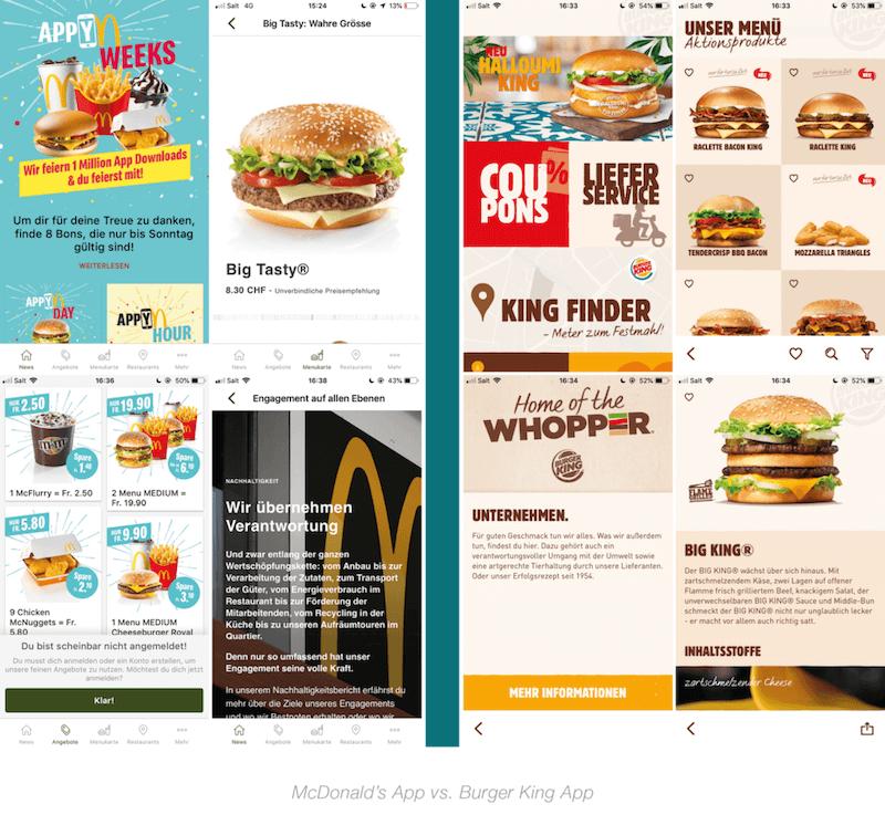 Anzeigen von McDonalds und Burger King