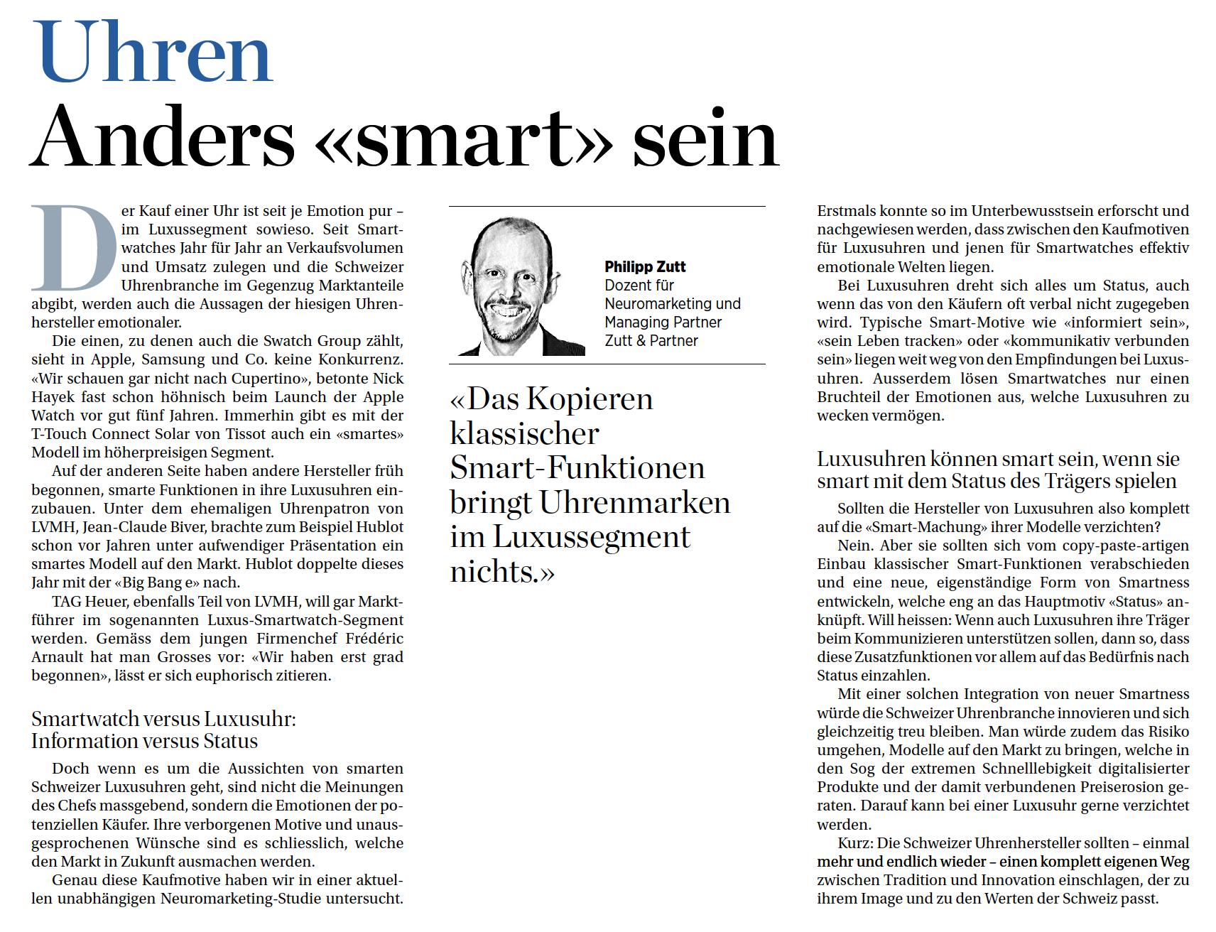 Gastbeitrag von Philipp Zutt in der Handelszeitungzum Thema Smartwatches