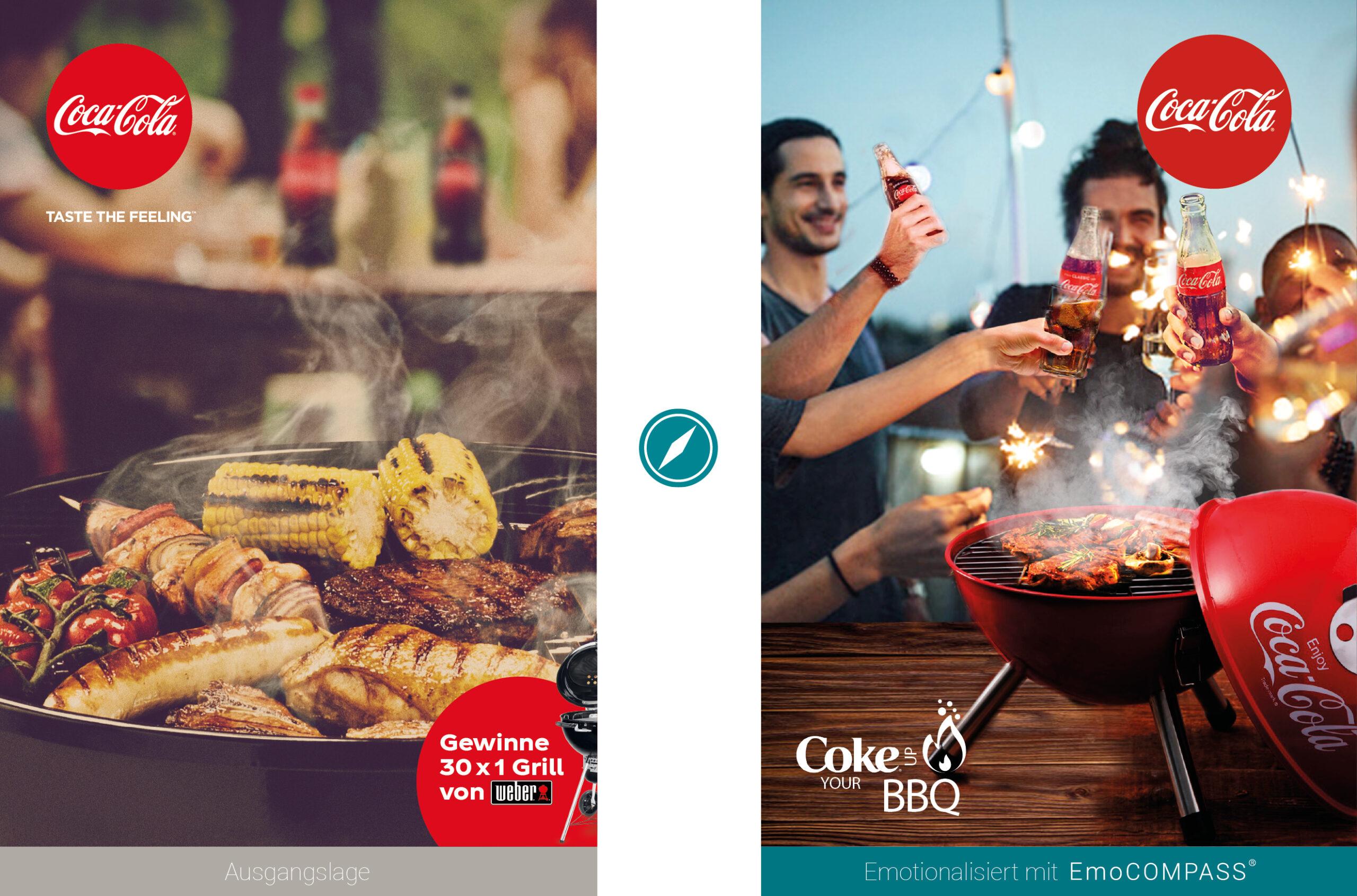 Vorher-/Nachher-Vergleich Promo-Kampagne Coke up your BBQ