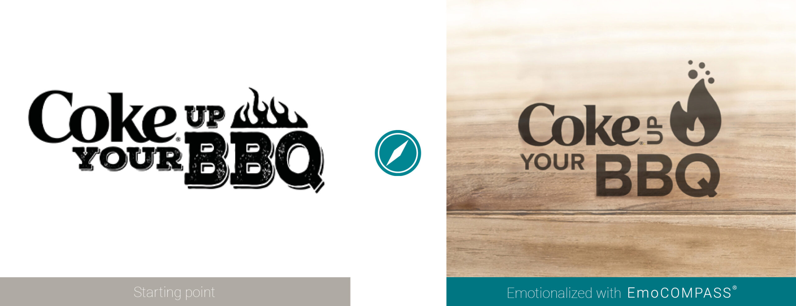 Before and after comparison Promo Logo Coke up your BBQ