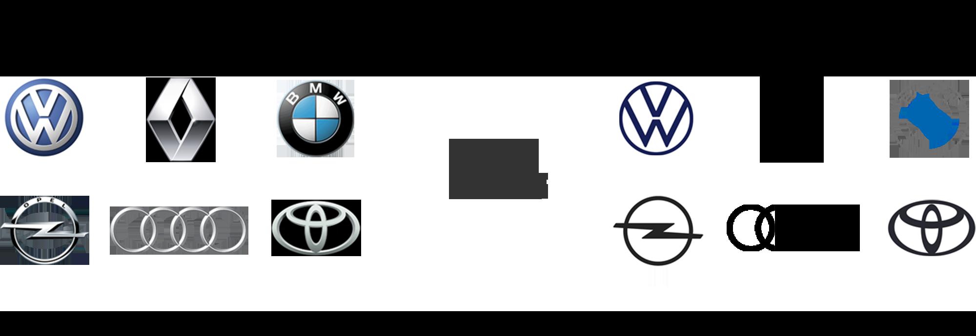 Die neuen und alten Logos der untersuchten Auto-Marken